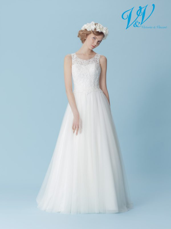 An A-Line wedding dress with a beautiful closed back.