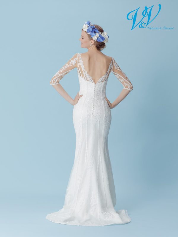 A vintage bridal gown with long sleeves.