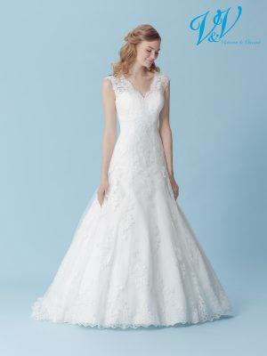 An A-Line wedding dress with a V-neckline. Perfect for a church wedding.