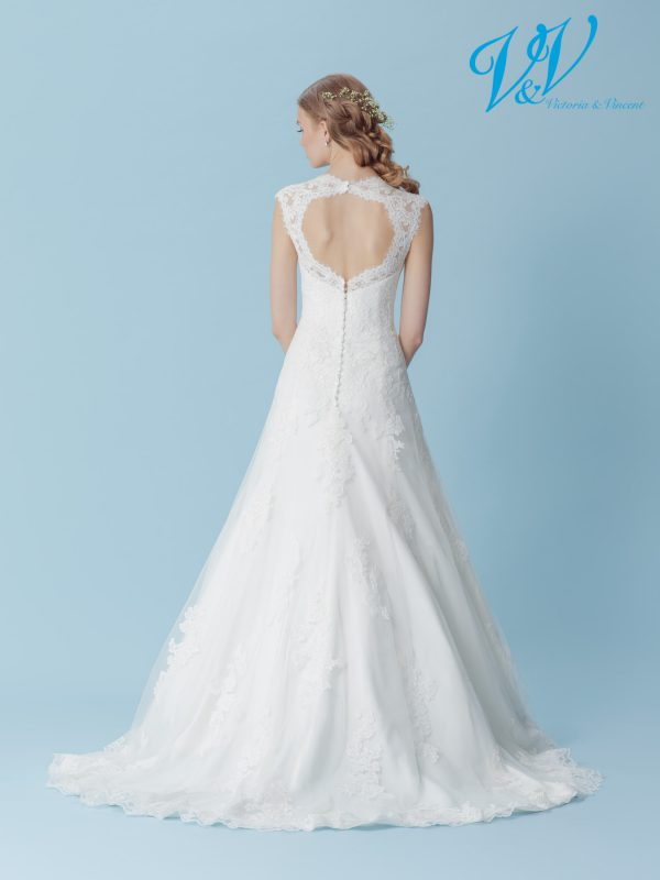 An A-Line wedding dress with a V-neckline. Perfect for a church wedding.