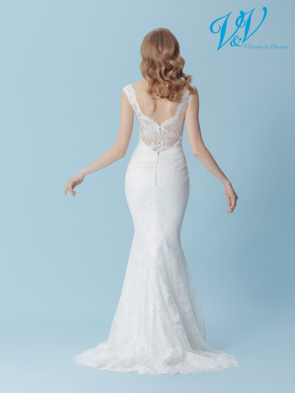 A sexy lace bridal dress with a beautiful illusion lace back.