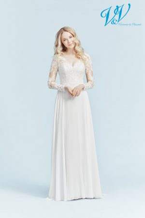 A vintage wedding dress with long sleeves. Very high quality chiffon.
