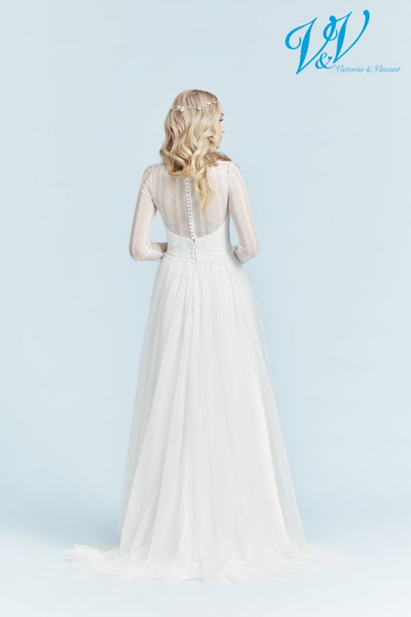 An A-Line wedding dress with long sleeves.