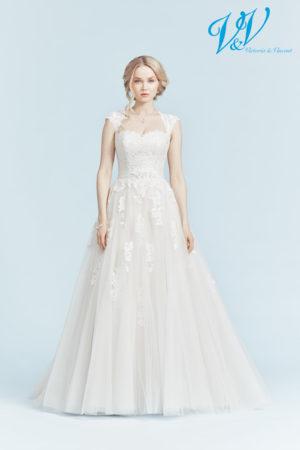 Backless A-Line wedding dress that makes you feel like a princess. Very high quality lace.