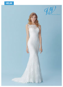 A sexy lace bridal dress with a beautiful illusion lace back.