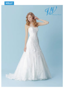 An A-Line wedding dress with a beautiful illusion lace back. Very high quality lace.