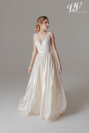 A backless satin wedding dress for a classic look.