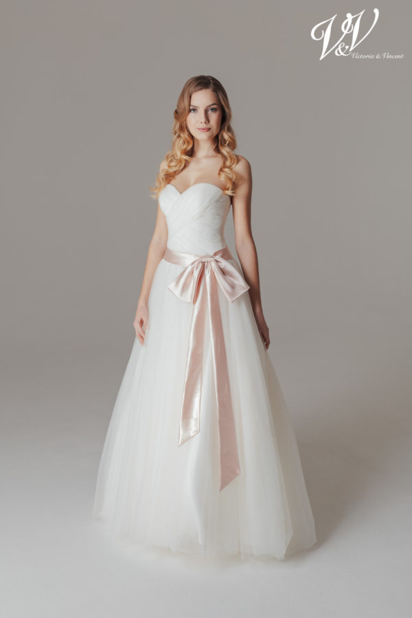 A princess wedding dress with an open back. Very high quality tulle.
