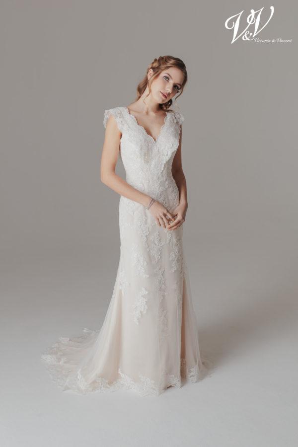 A vintage sheath wedding gown.