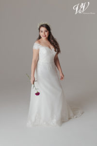 A plus size bridal gown with a sweetheart neckline. Very high quality organza.