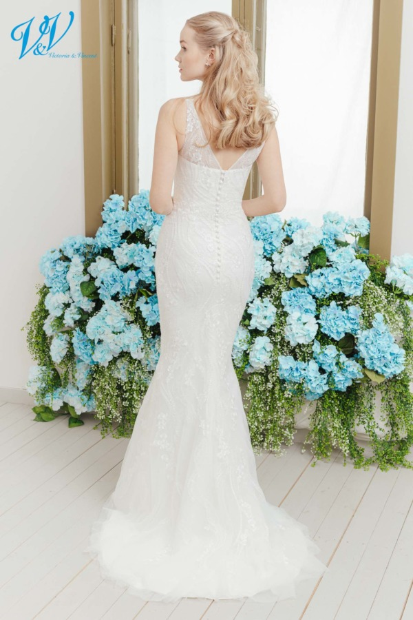 Mermaid style wedding dress made of very high quality lace. The most affordable premium quality romantic wedding dress on the market. Color in the picture is ivory but this bridal gown is also available in white.