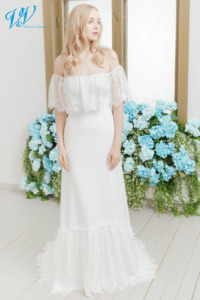 Off the shoulder wedding dress giving you that boho look. A-Line style with beautiful lace. Color in the picture is ivory but this bridal gown is also available in white.