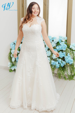 This A-Line bridal gown has cap sleeves and a keyhole back. The most affordable premium quality plus-size wedding dress on the market. Color in the picture is ivory / lt gold but this bridal gown is also available in all ivory and white.