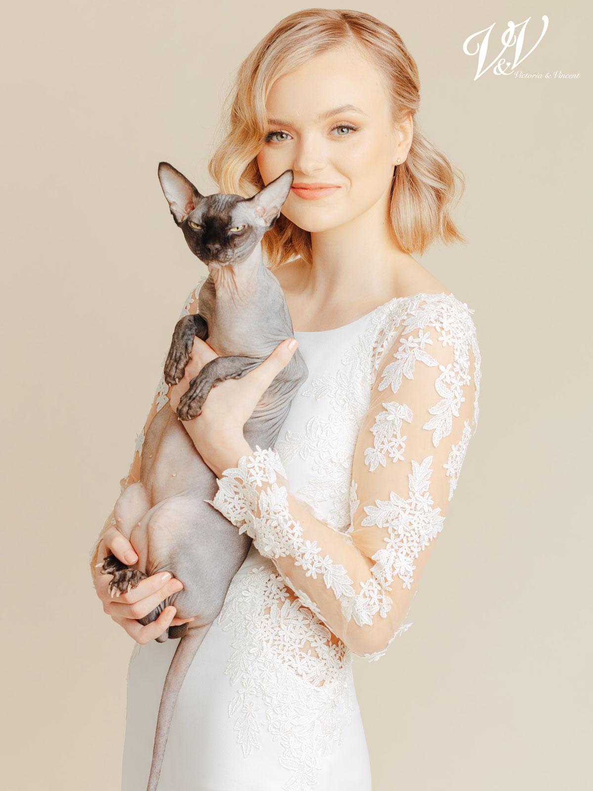 Victoria & Vincent wedding dress and a cat