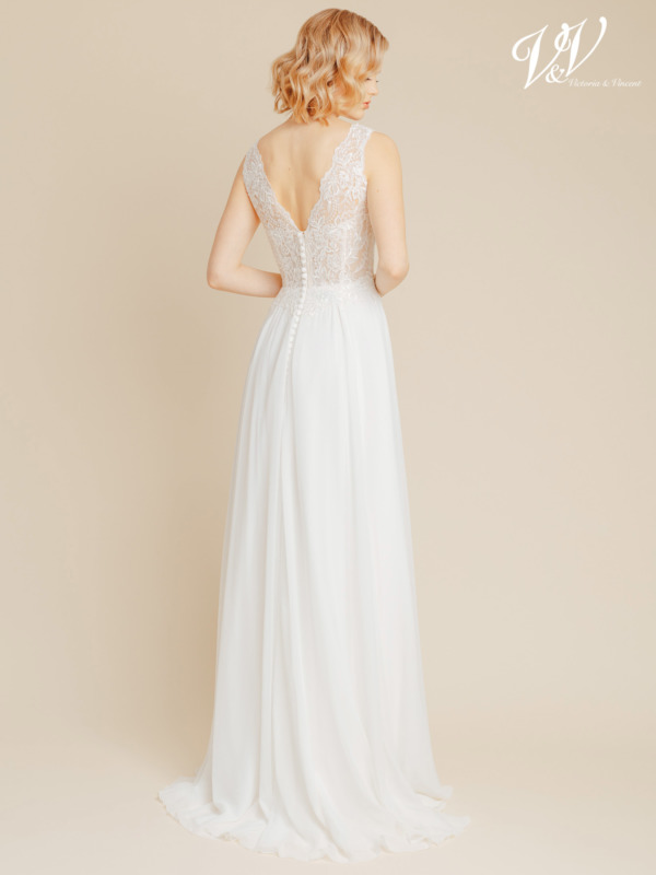 Chiffon bridal gown with a V-neckline and a V-back. Well supported yet affordable premium quality wedding dress. Color in the picture is ivory / nude but this bridal gown is also available in all ivory.