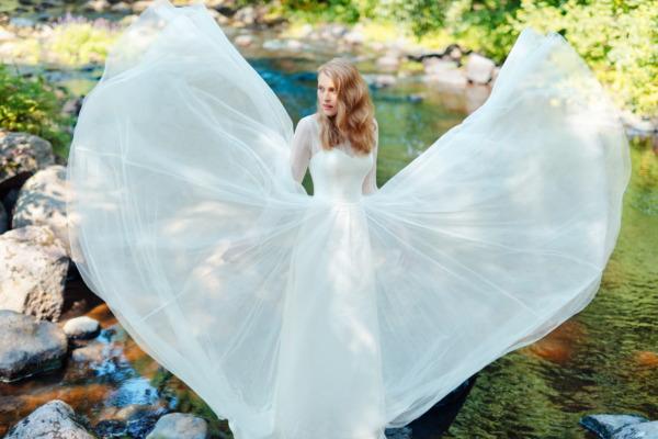 An A-Line wedding dress with long sleeves. Victoria & Vincent Wedding Dress