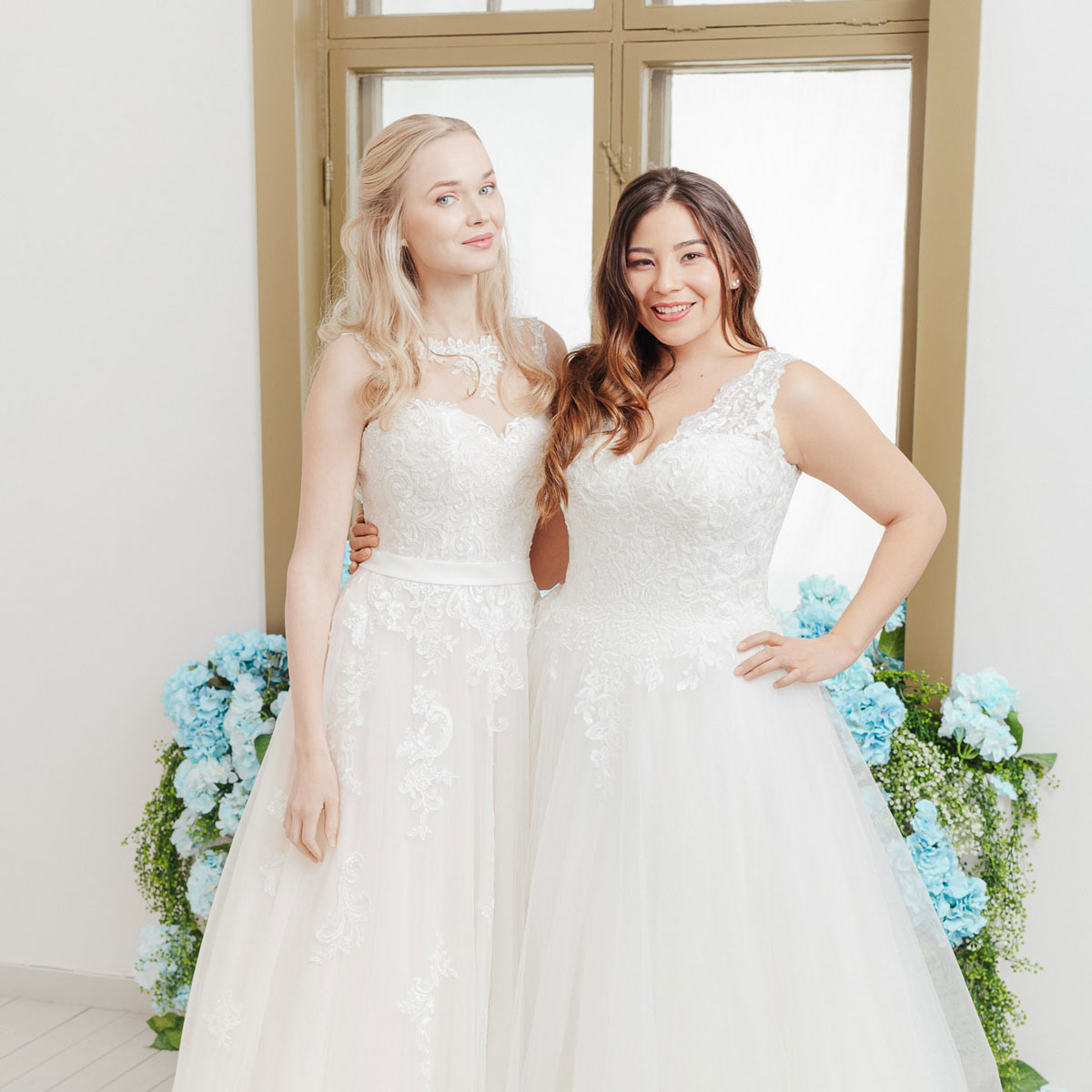 Plus size wedding dress and a lace wedding dress-Victoria & Vincent